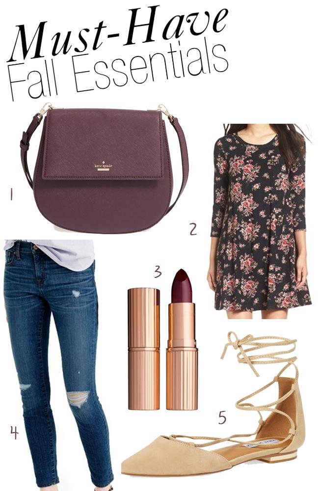 Kate Spade Byrdie Bag, Charlotte Tilbury Lipstick, JCrew Toothpick Jeans, Lush Floral Dress, Steve Madden Lace-Up Flats