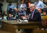 State Sen. Michael Barrett testified on behalf of his carbon pricing bill at the Massachusetts Joint Committee on Telecommunications, Utilities and Energy on Tuesday in Boston. (Credit: Climate XChange)  Click to Enlarge.