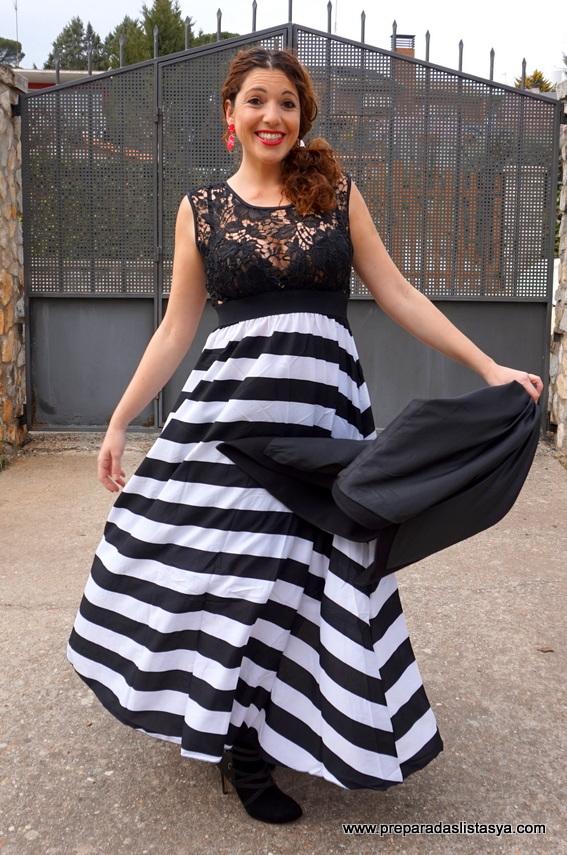 Vestido blanco y negro largo