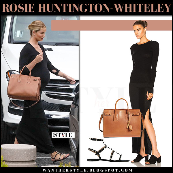 Rosie Huntington-Whiteley in black maxi dress enza costa with brown leather bag saint laurent may 10 2017 what she wore