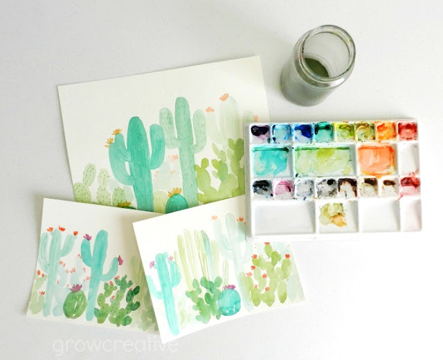 Watercolor Cactus Paintings by Elise Engh