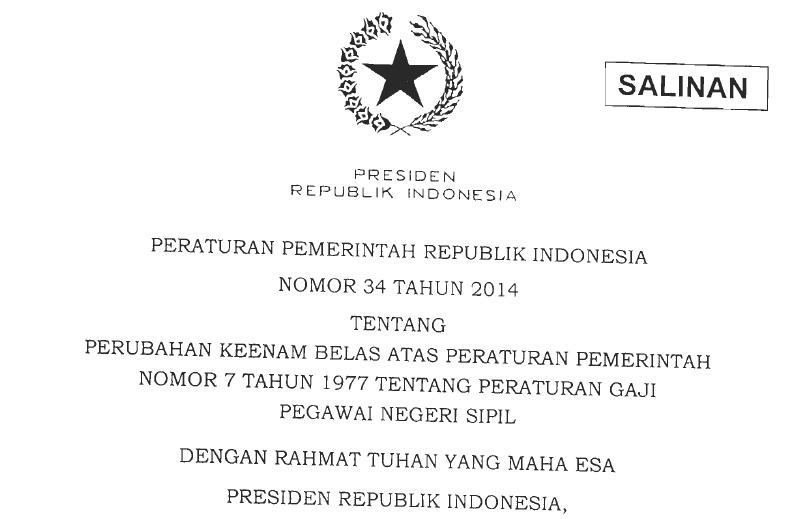 Kenaikan Gaji Pokok PNS 2014, PP 34 2014