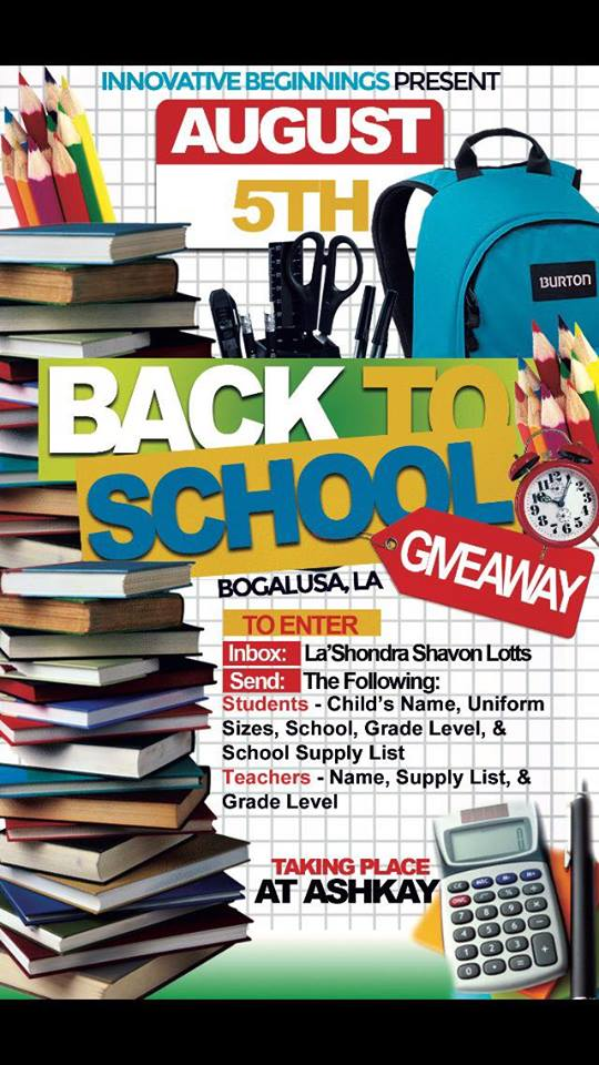 Back to School Giveaway in Bogalusa August 5th