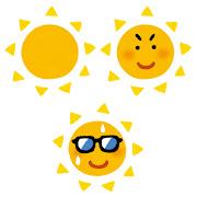 いろいろな太陽のイラスト(黄)