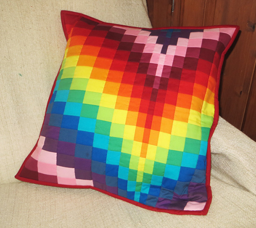 Rainbow Bargello Cushion Pillow Free Pattern