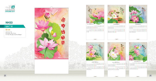 NH33 - sắc sen , Lịch treo tường 7 tờ, in lịch, mẫu lịch đẹp, mẫu lịch phong thủy, lịch hoa sen