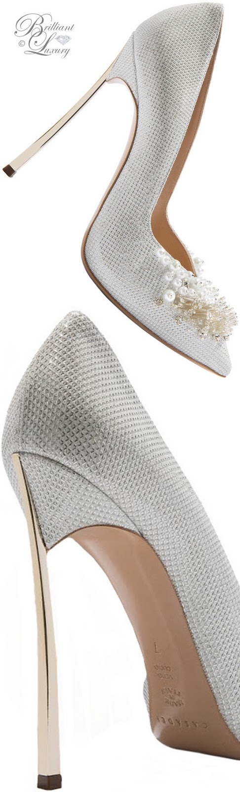 Brilliant Luxury ♦ Fall in ~ Casadei Blade high heels in white with strass ornament