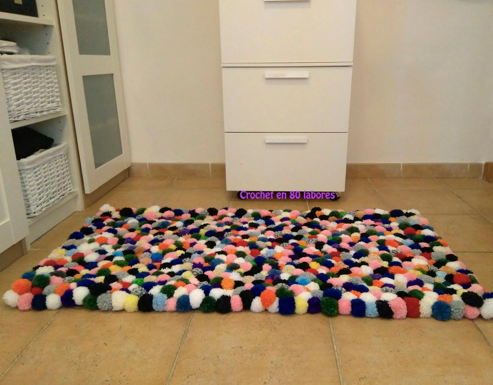 Crochet en 80 labores alfombra de pompones - Como hacer alfombras de lana ...