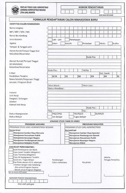 Formulir Pendaftaran STIALAN tahun 2017