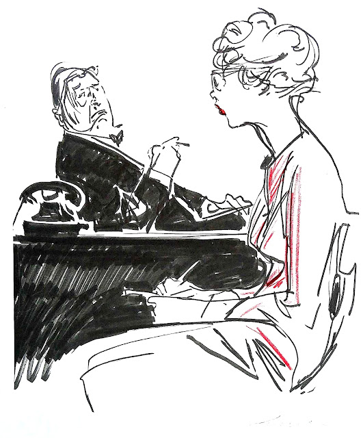 a Wilhelm M.Busch drawing of boss and secretary