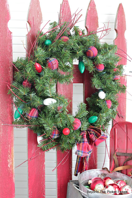 christmas wreath made from thrift store items