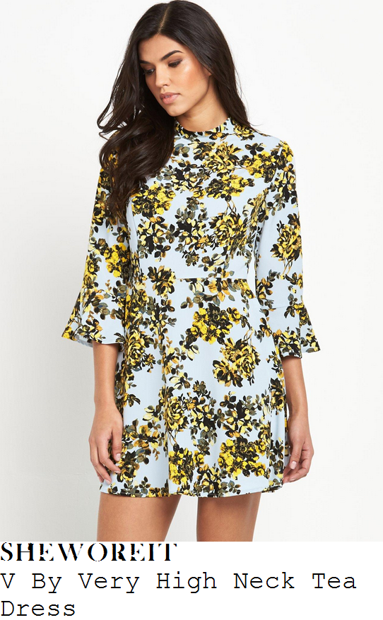 ferne-mccann-v-by-very-blue-and-yellow-floral-print-high-neck-tea-mini-dress