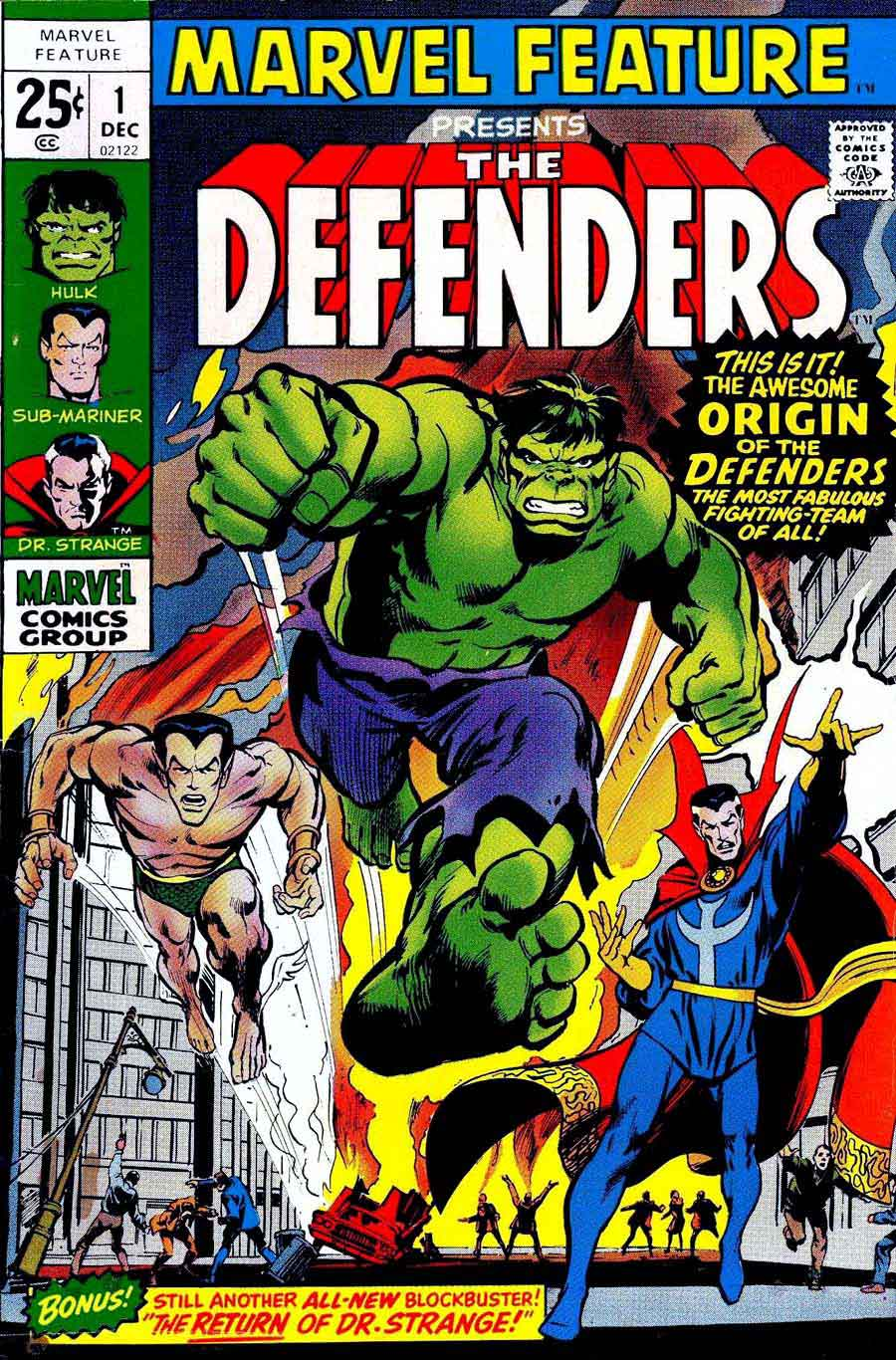Marvel Feature v1 #1 Defenders marvel comic book cover art by Neal Adams
