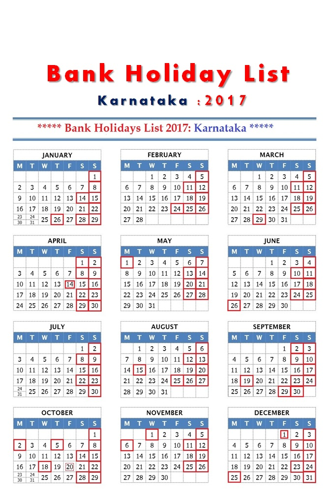 List of banking holidays 2019