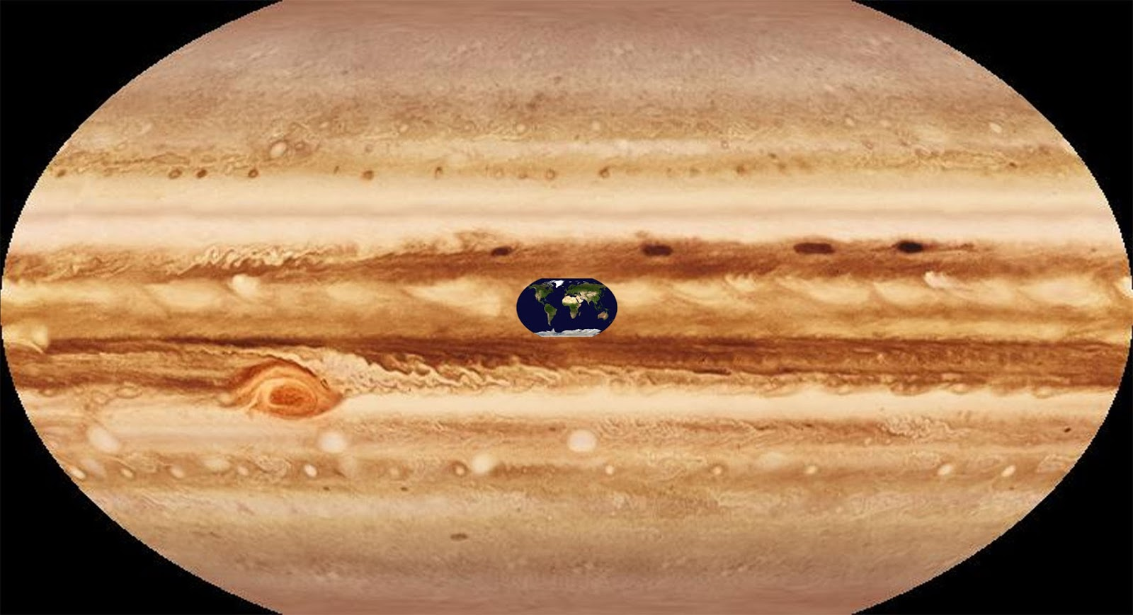 Surface map of Earth on 'Surface' map of Jupiter