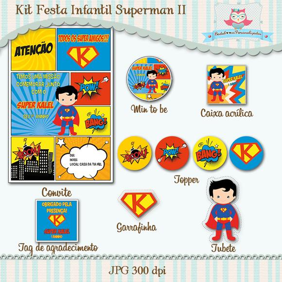 arte digital, kit digital, festa, infantil, kit festa, heróis, superman, super homem, convite, rótulo, rótulos, tag, tag agradecimento, topper, min to be, caixa acrílica
