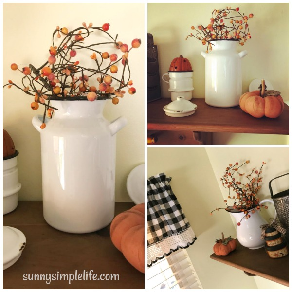 black and white enamelware, fall pumpkins, fall pip berries