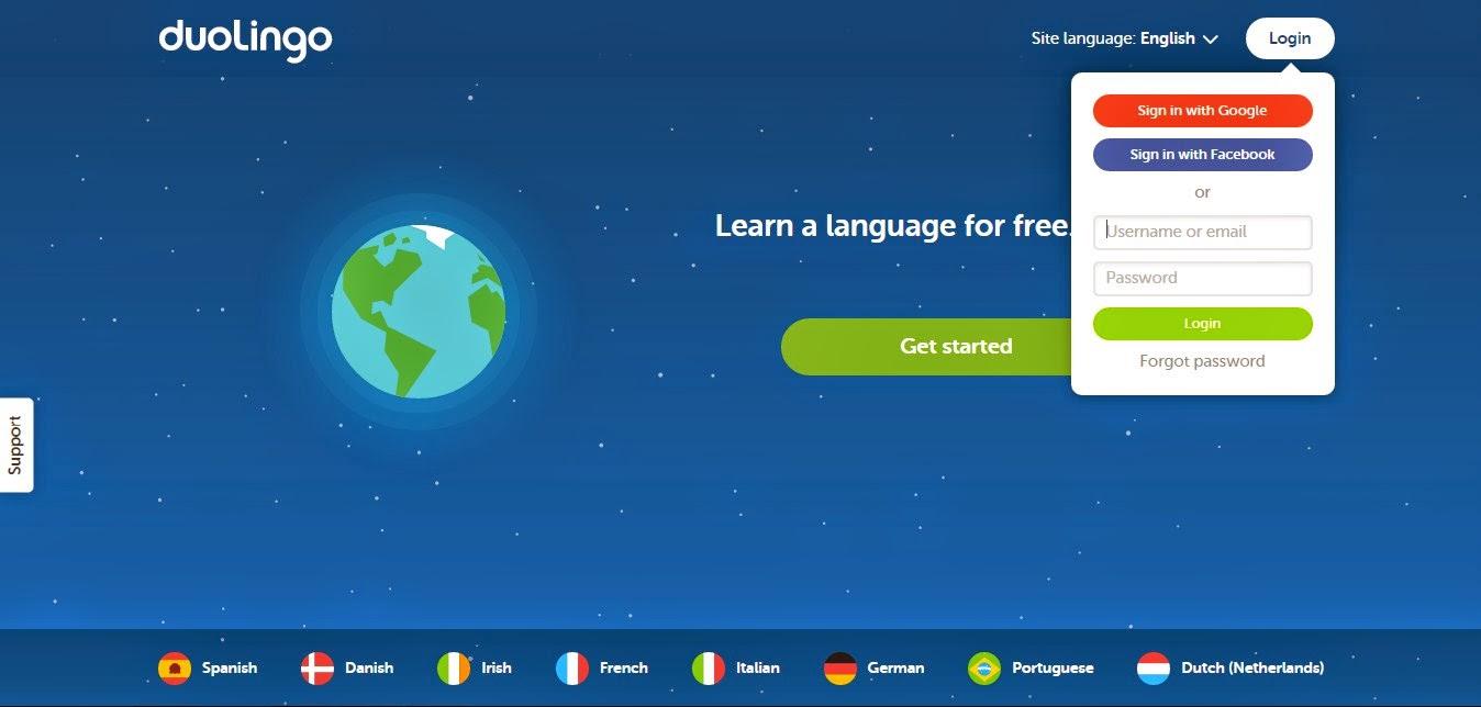 Tampilan Awal Duolingo, Tempat Belajar Bahasa Inggris Gratis via Online