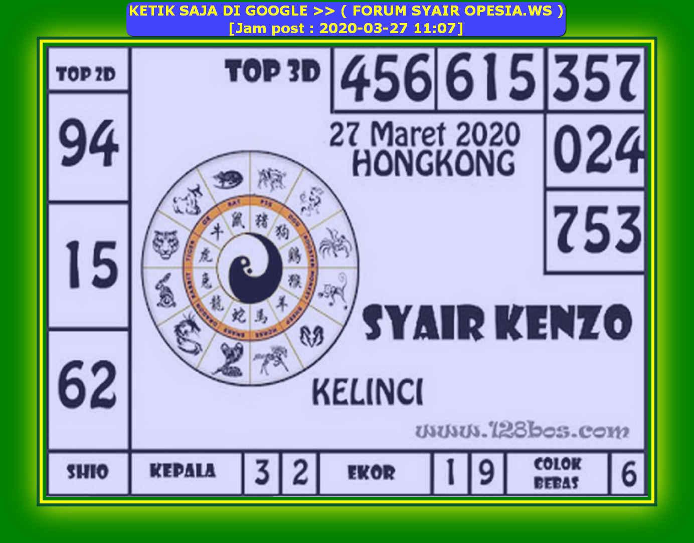 Kode syair Hongkong Jumat 27 Maret 2020 154