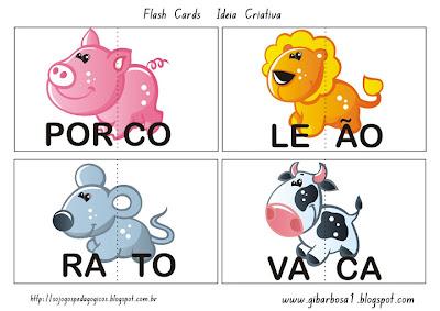 Jogo Pedagógico com Flash Cards Animais