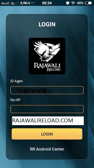 Login aplikasi RR Android Center