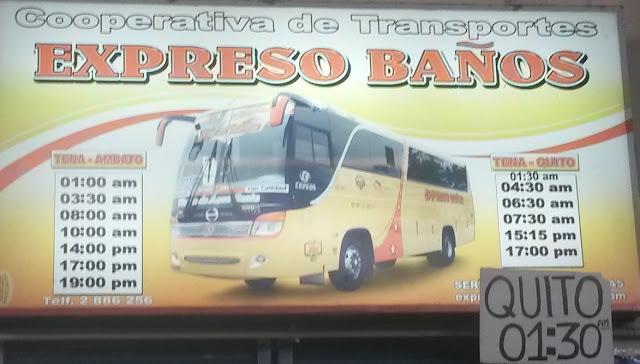 Cooperativa de Transportes Expreso Baños en la ciudad de Tena