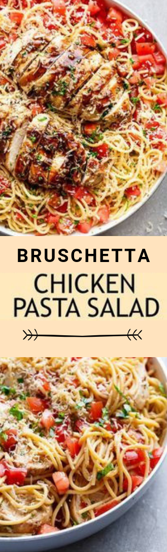 bruschetta chicken pasta plate of mixed greens #dinner #pasta