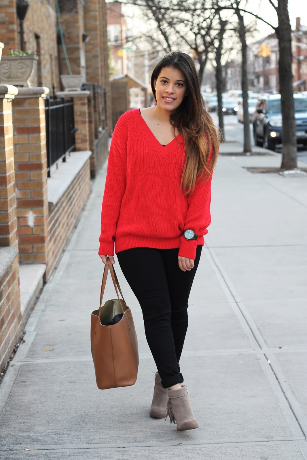 Casual Valentine's Day look; Zaful Red Knit Sweater and Black Skinnies.