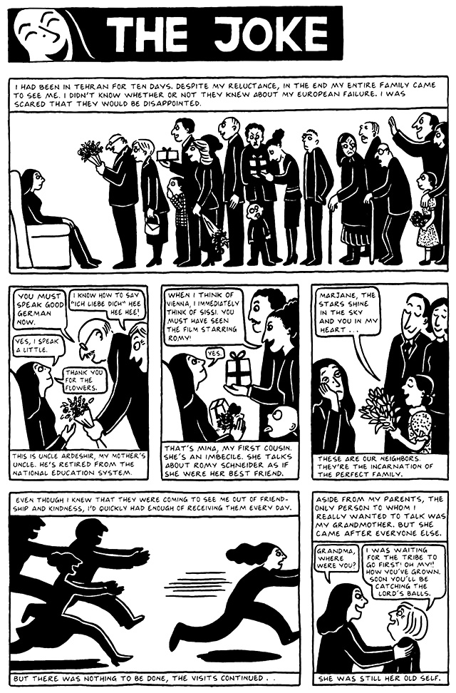 Read Chapter 11 - The Joke, page 104, from Marjane Satrapi's Persepolis 2 - The Story of a Return