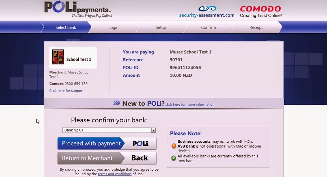 POLi Account Select Bank Screen