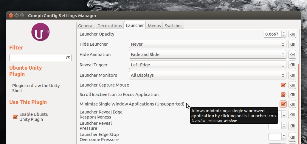 Minimize On Click For Unity Launcher Available In Ubuntu