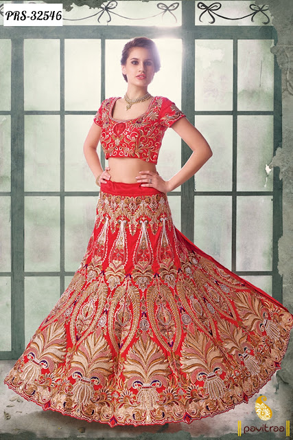 Karva Chauth and Diwali festival special red net deisgner lehengha choli online shopping at pavitraa.in