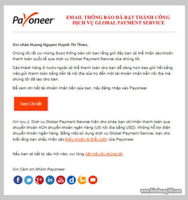 Hình 5.6: Thông báo đã bật thành công dịch vụ Global Payment Service