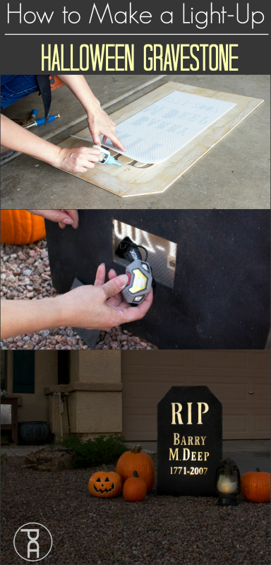 how to diy wood halloween tombstone gravestone lighted yard sign outdoor