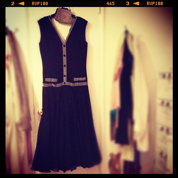 vintage black gown with rhinestones