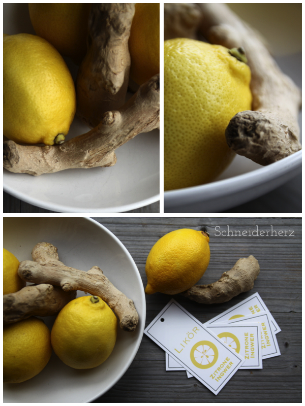 Zutaten Zitronen Ingwer Likör Geschenk aus der Küche