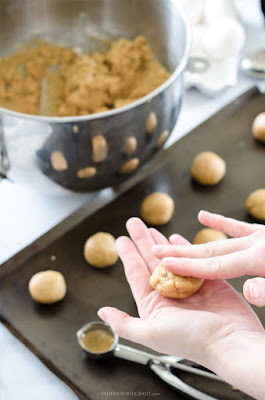 Rolling peanut butter cookie dough