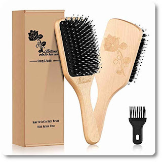 Paddle Boar Bristle Hair Brush with Cleaner Tool by Bsisme