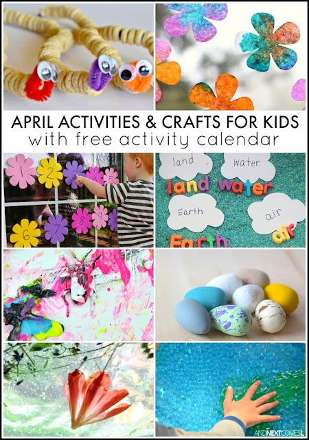 April activities and crafts for kids with free downloadable activity calendar - includes lots of spring and Earth Day crafts and activities from And Next Comes L