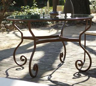 mesa jardin de forja rustica