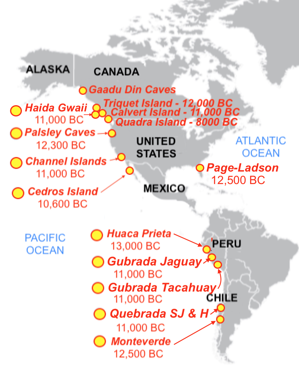 map showing ancient coastal sites that support man being in the americas before the end of the last ice age and before the so called open land corridor