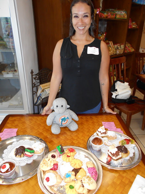 Buddy the Traveling Monkey on the Taste History Culinary Tours at Palermo's Bakery in Boynton Beach