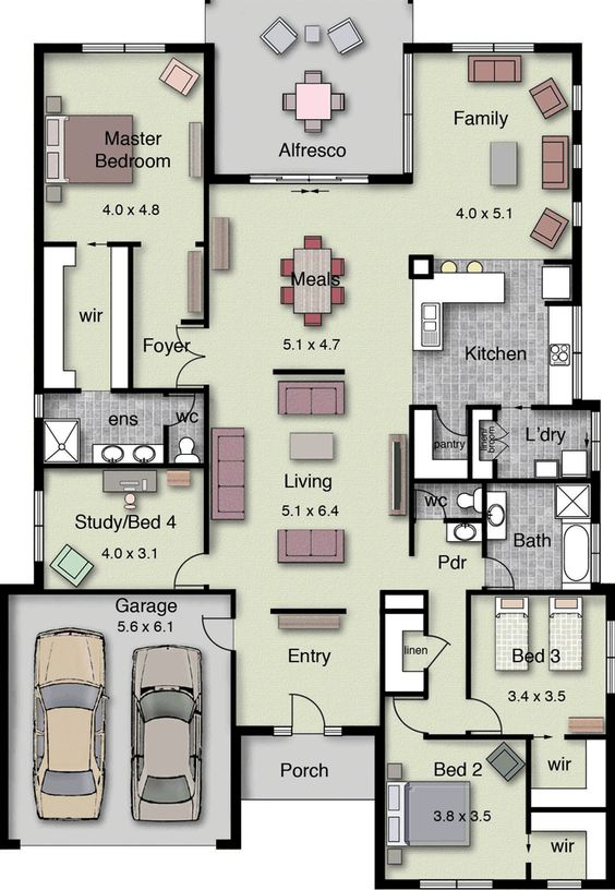 4 Bedrooms House Ground Floor Plan