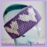 hearts, headband, how to crochet, free crochet patterns, valentines, earwarmer,