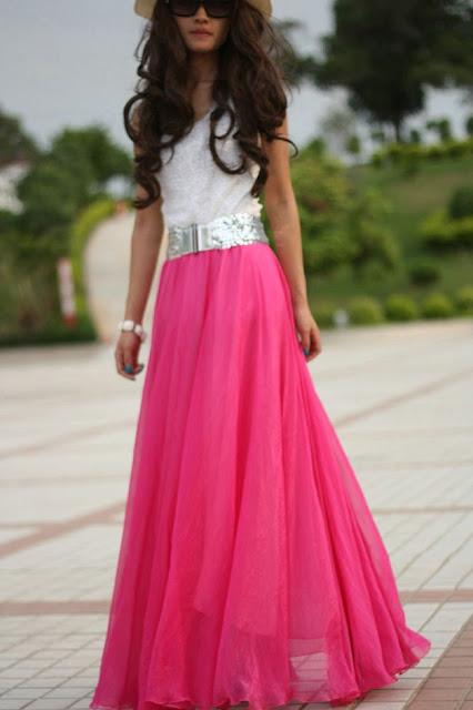 Rok Sifon Panjang Model Payung Warna Pink Polos