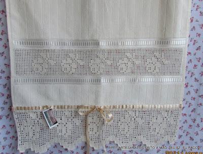 Toalha de Rosto, Barrado em Crochê File, Barrado em Crochê, Bordado Labirinto, Bordado Crivo,