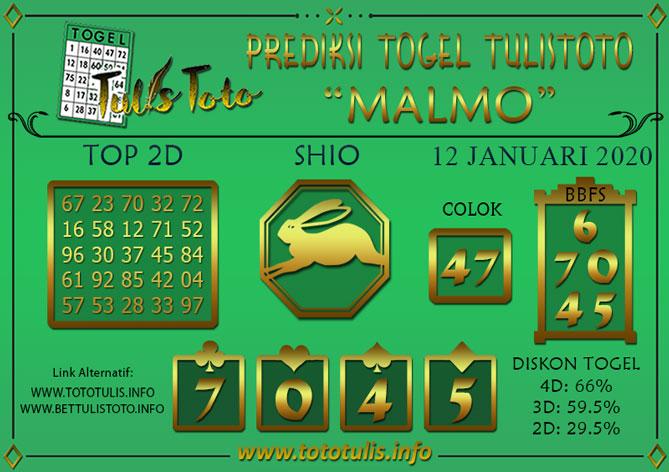Prediksi Togel MALMO TULISTOTO 12 JANUARI 2020
