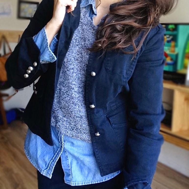 denim shirt with black blazer