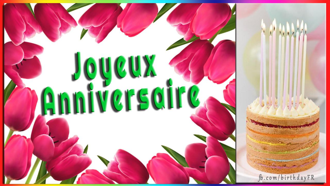 Carte De Voeux D Anniversaire Avec Des Fleurs Joyeux Anniversaire