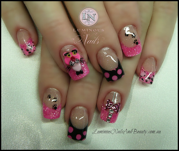 Pink and Black Acrylic Nails